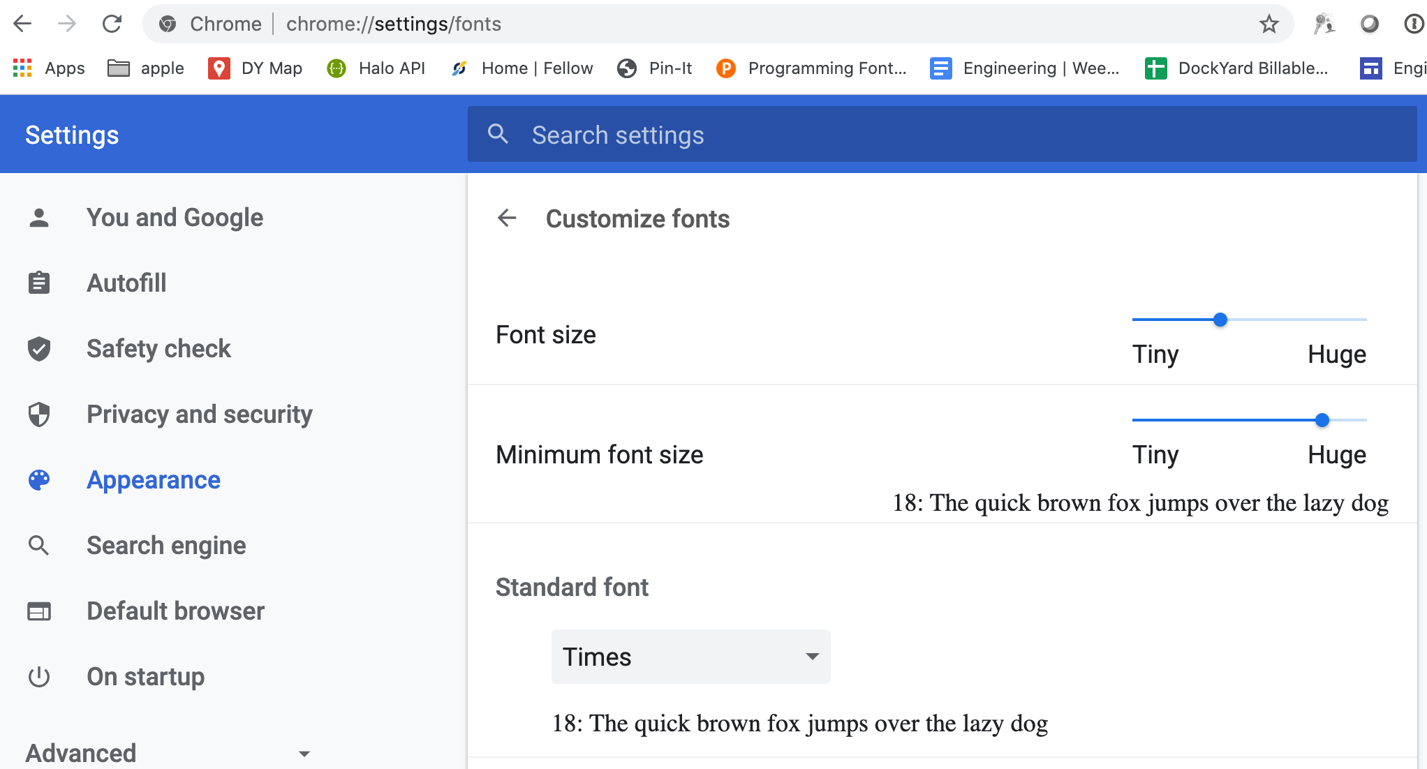chrome preferences screen showing the text size configuration
