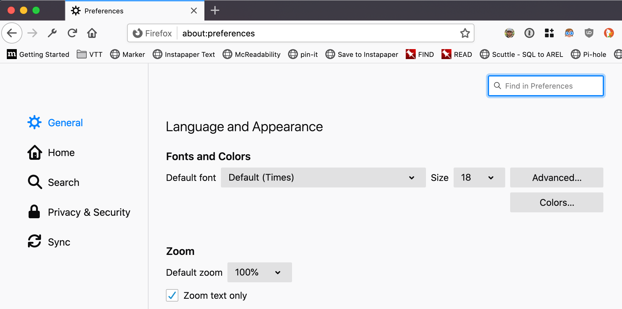 firefox preferences screen showing the text size configuration