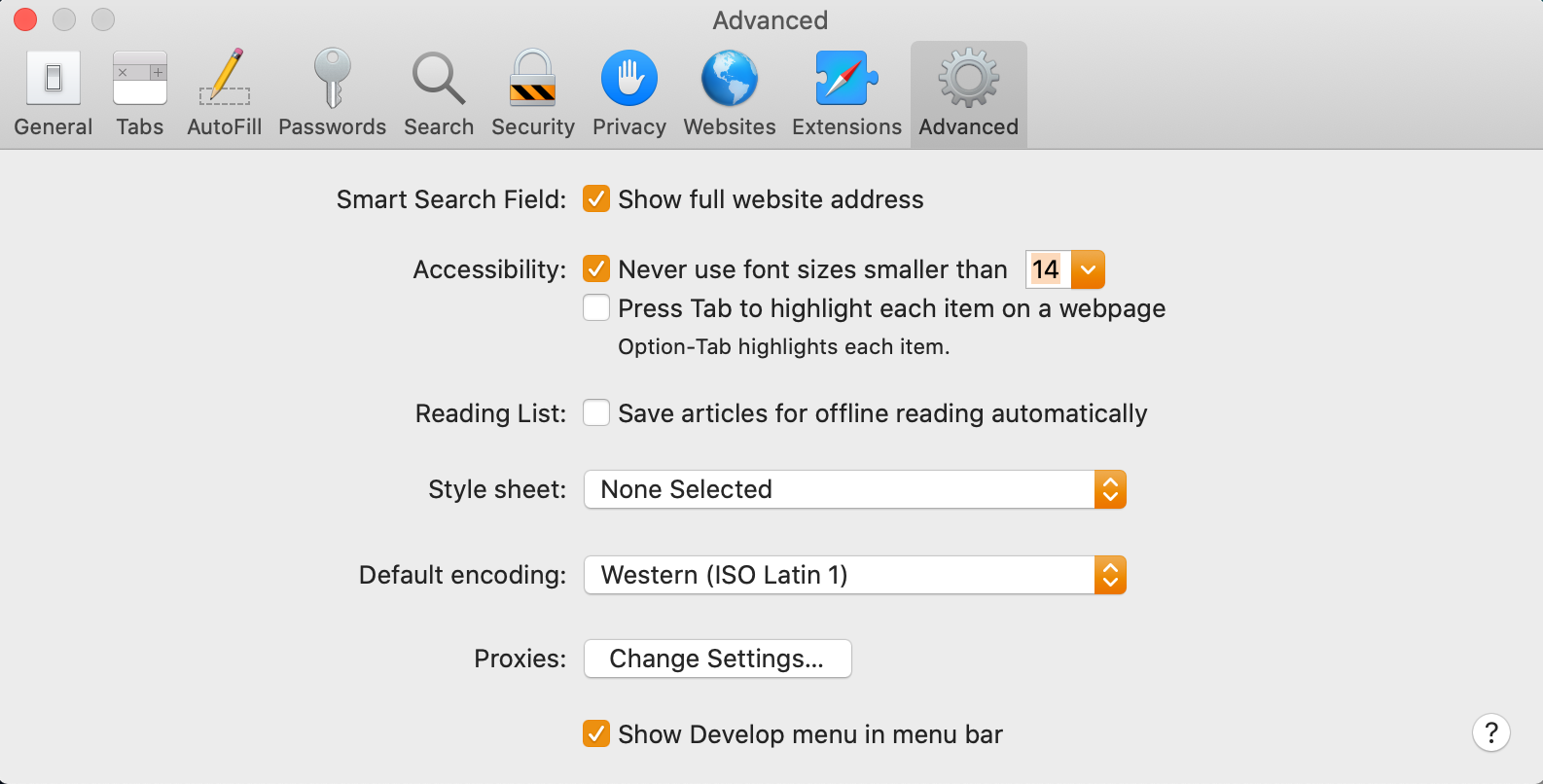 safari preferences screen showing the minimum text size configuration